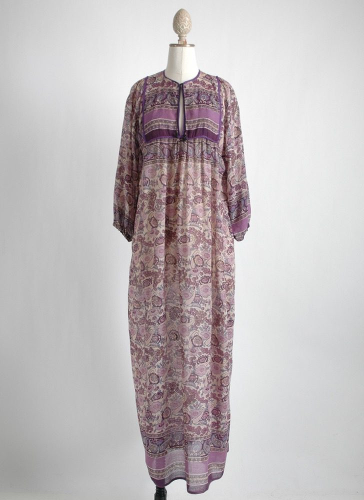 1970s purple cotton gauze bib Indian dress