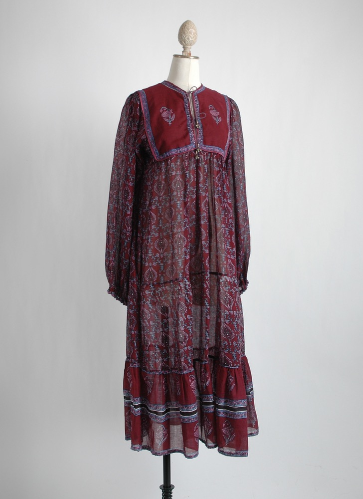 1970s al-Harbi burgundy India cotton dress old stock