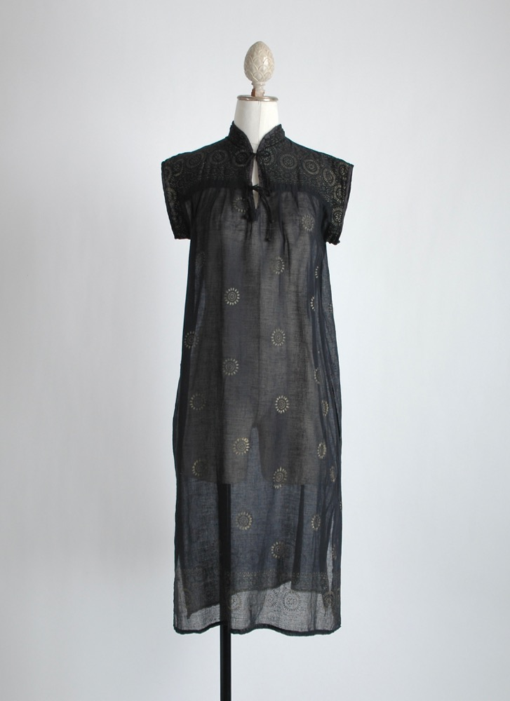 vintage sheer black + gold Indian cotton dress