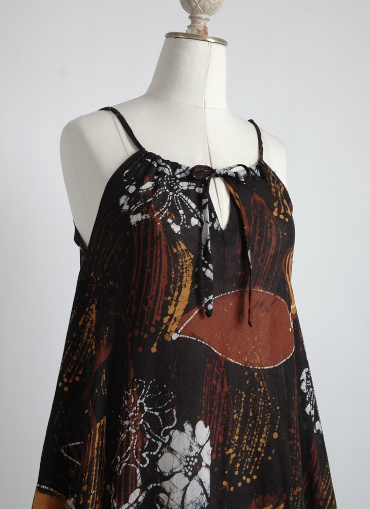 1970s black batik cotton tent dress
