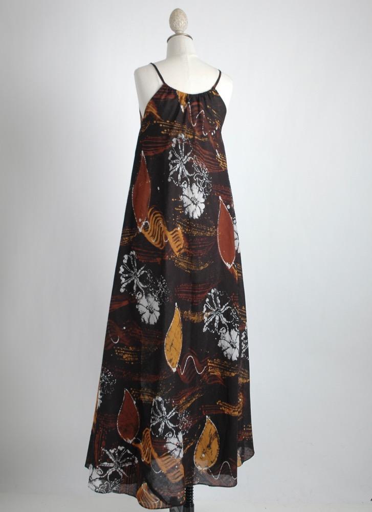 1970s black batik cotton tent dress
