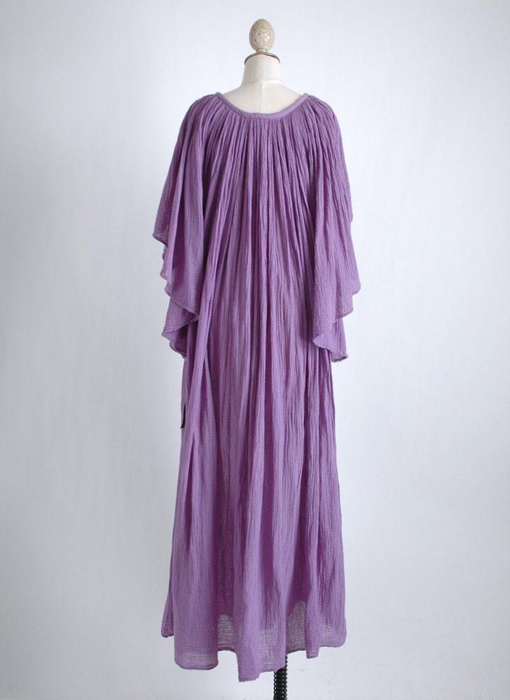 1970s purple gauze dress old stock