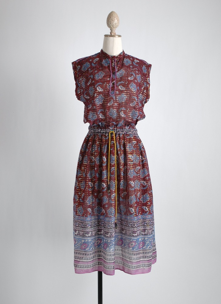 1970s Indian sheer cotton lurex dress