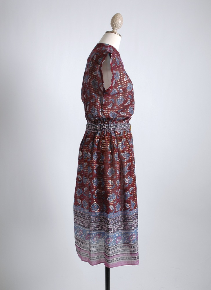 1970s Indian sheer cotton lurex dress