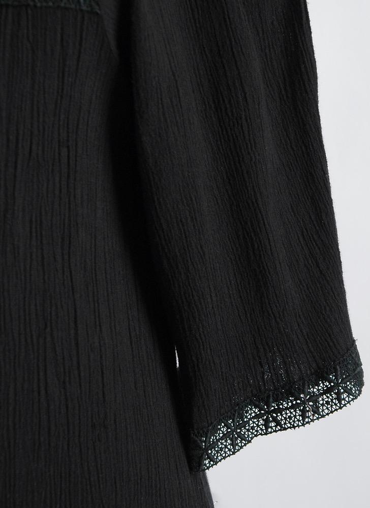 1970s black cotton gauze + embroidered lace dress