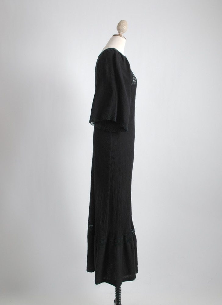 1970s black cotton gauze + embroidered lace dress
