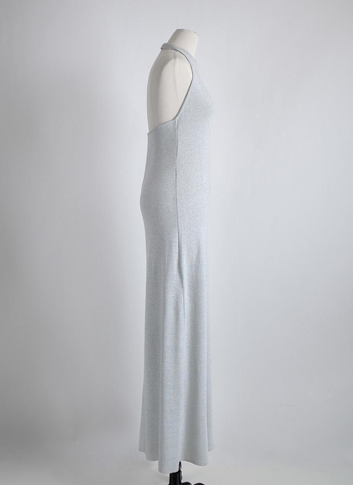 1970s Oscar de la Renta sparkle knit halter gown