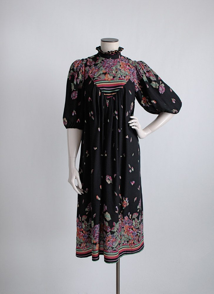 1970s abstract print black rayon dress