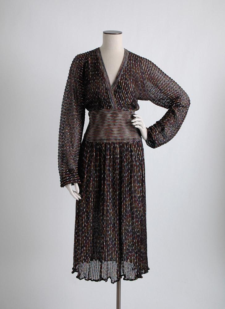 1970s Missoni black knit lurex dress, large