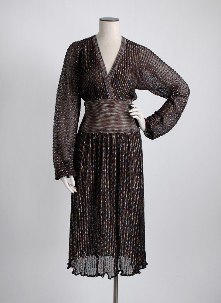 1970s Missoni black knit lurex dress, large