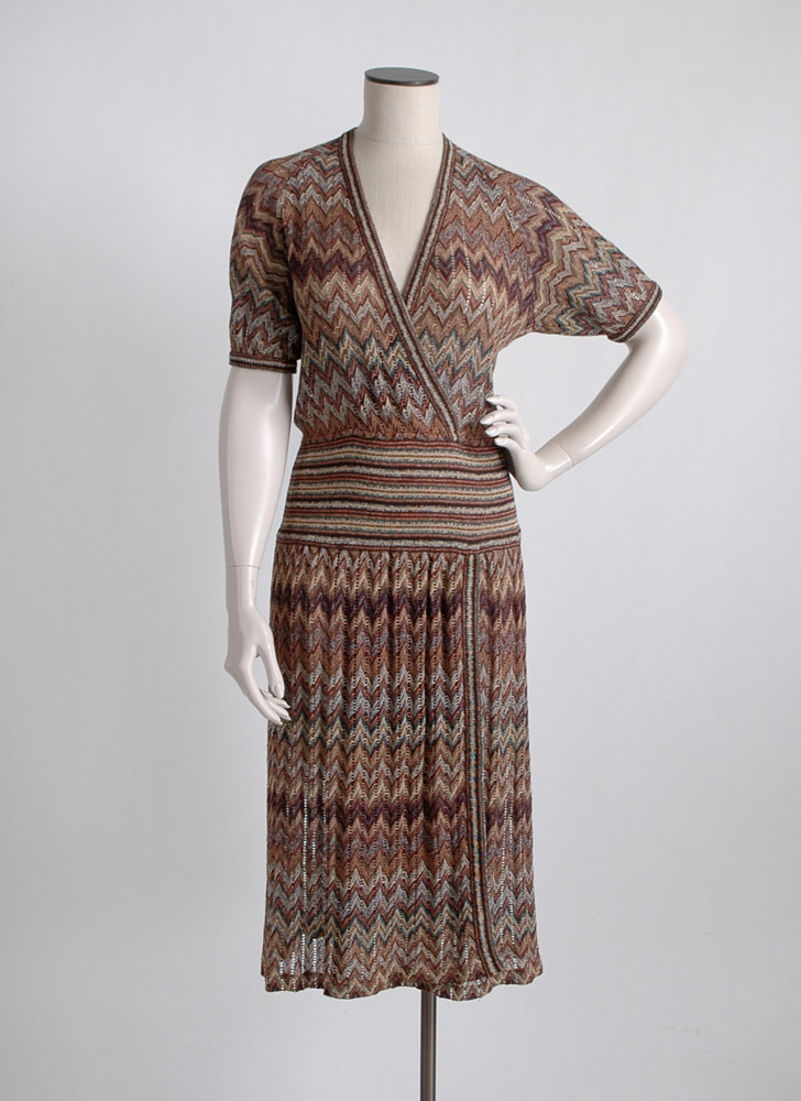 1970s Missoni chevron knit dress, large
