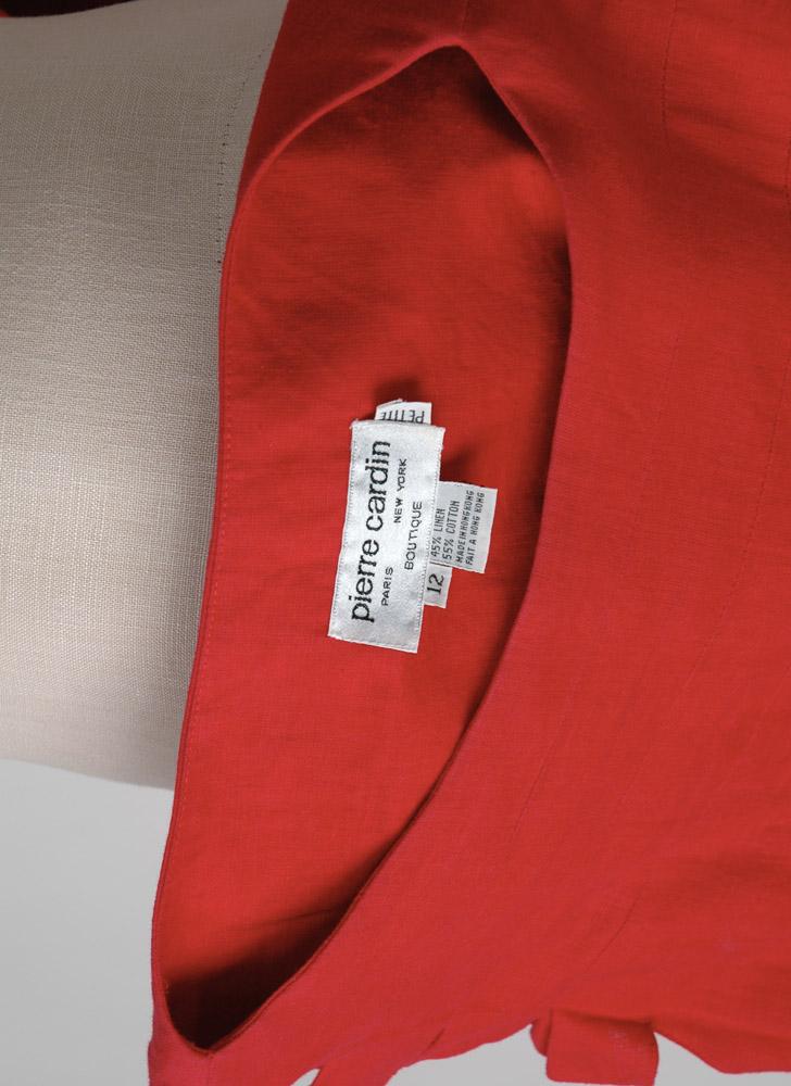 1980s Pierre Cardin red linen dress