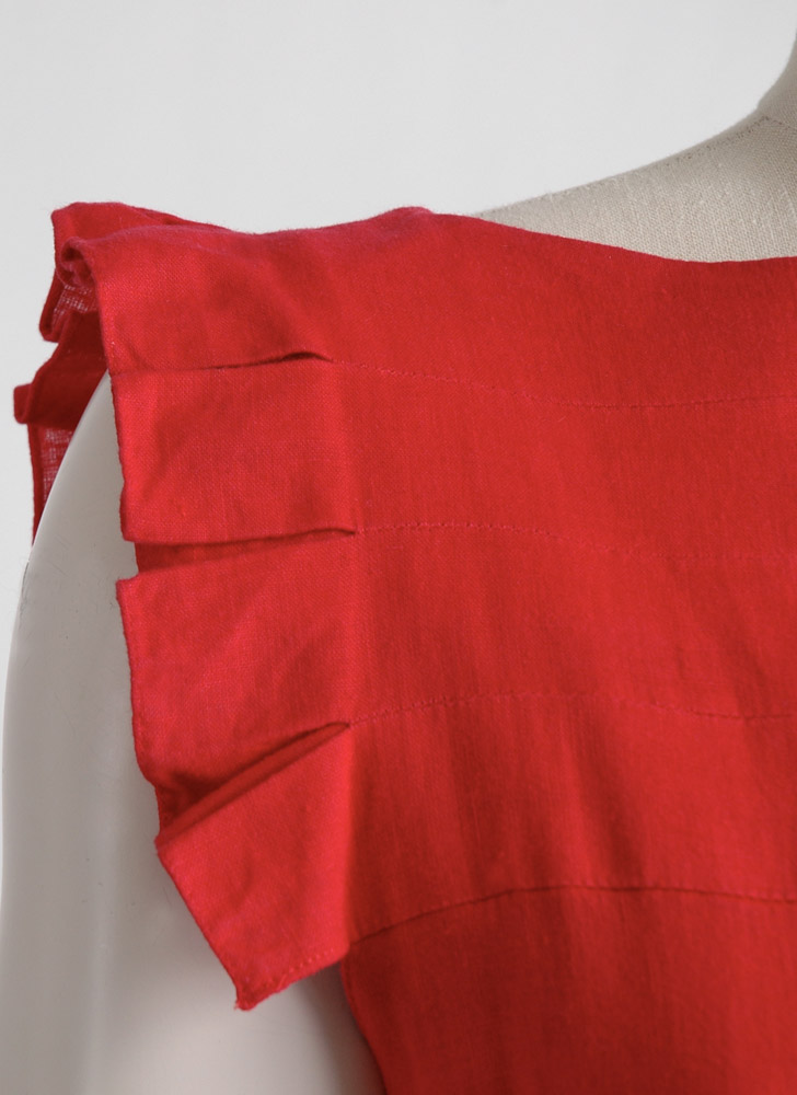 1980s Pierre Cardin red linen dress