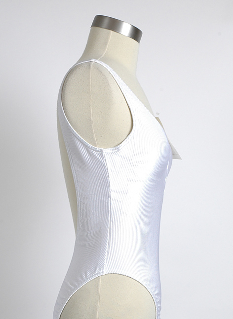 White 1980s French Cacharel ribbed swimsuit never worn/tags