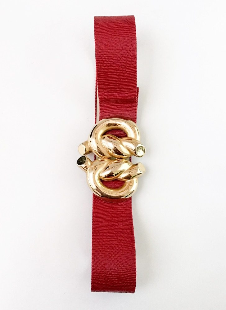 1980s Mimi di N gold knot belt buckle, red snakeskin