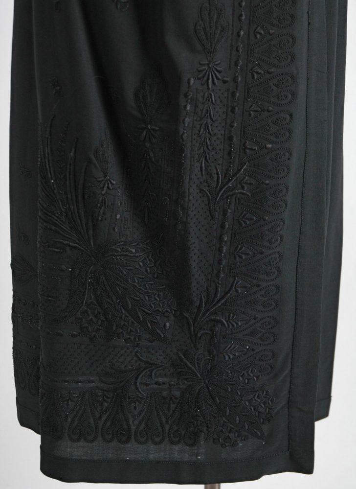 1920s bead + embroidery black wool gab silk satin dress