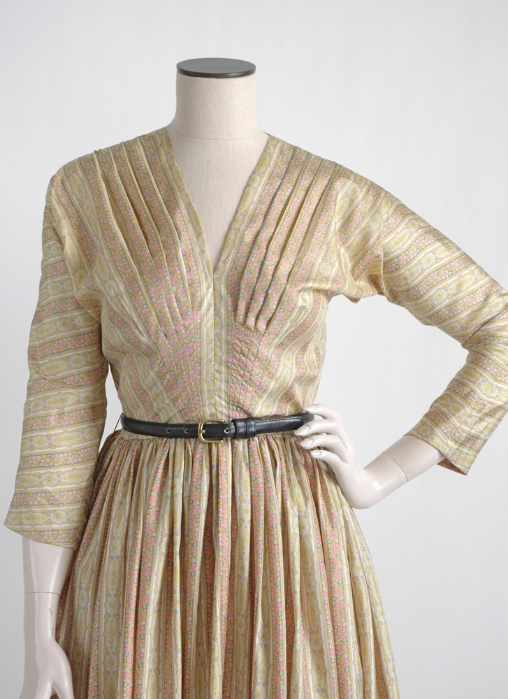 COMING SOON! 1950s Anne Fogarty printed silk dress