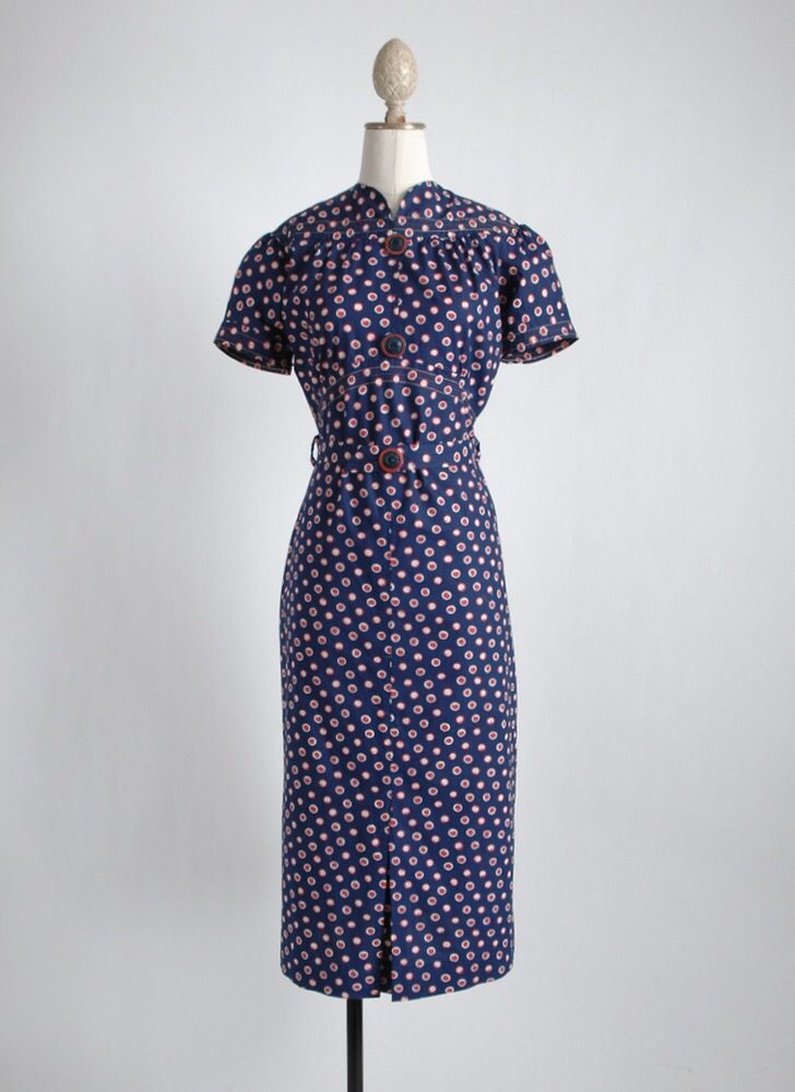 the best 1930s dark blue print cotton dress