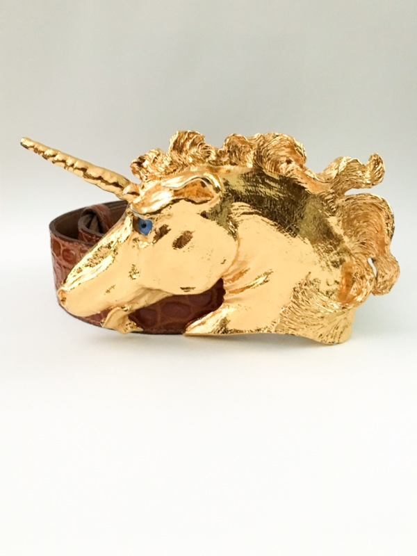 1980s Christopher Ross unicorn belt buckle 24k
