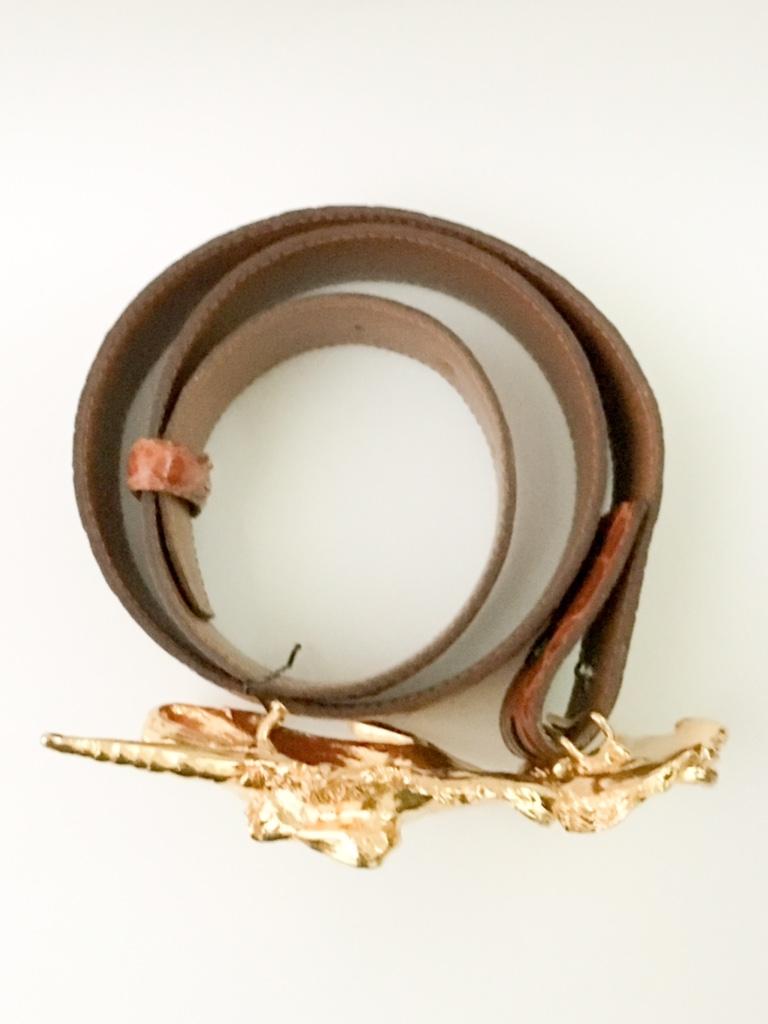 1980s Christopher Ross unicorn belt buckle 24k