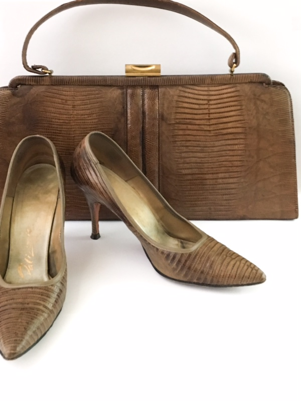 1950s Palizzio lizard heels + purse set