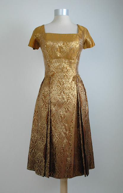 rare 1950s Travilla silk brocade coat + dress set