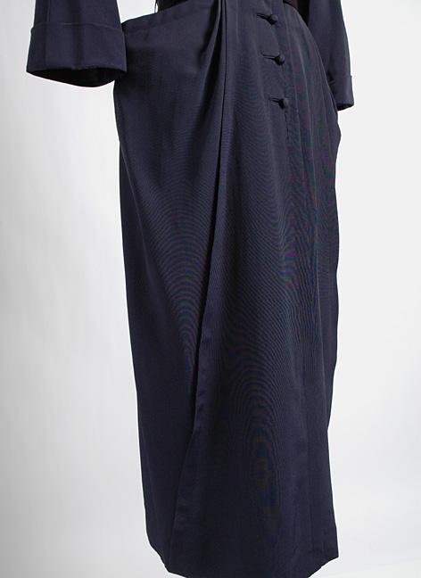 1950s Nettie Rosenstein blue faille cocktail dress