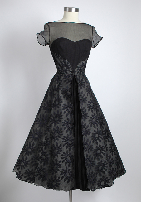 1950s Mary Sachs accordion pleat embroidered silk chiffon + organza dress