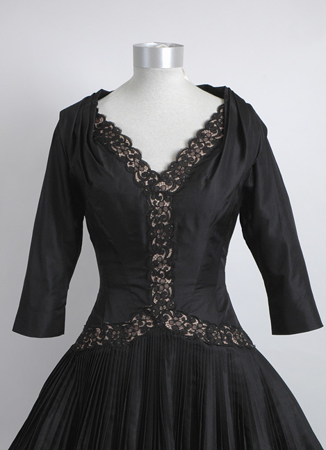 fine 1950s sculptural silk satin lace evening dress