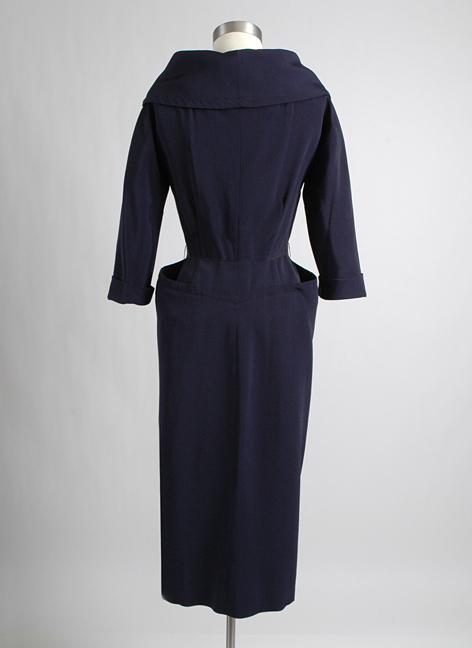 1950s Nettie Rosenstein blue faille cocktail dress
