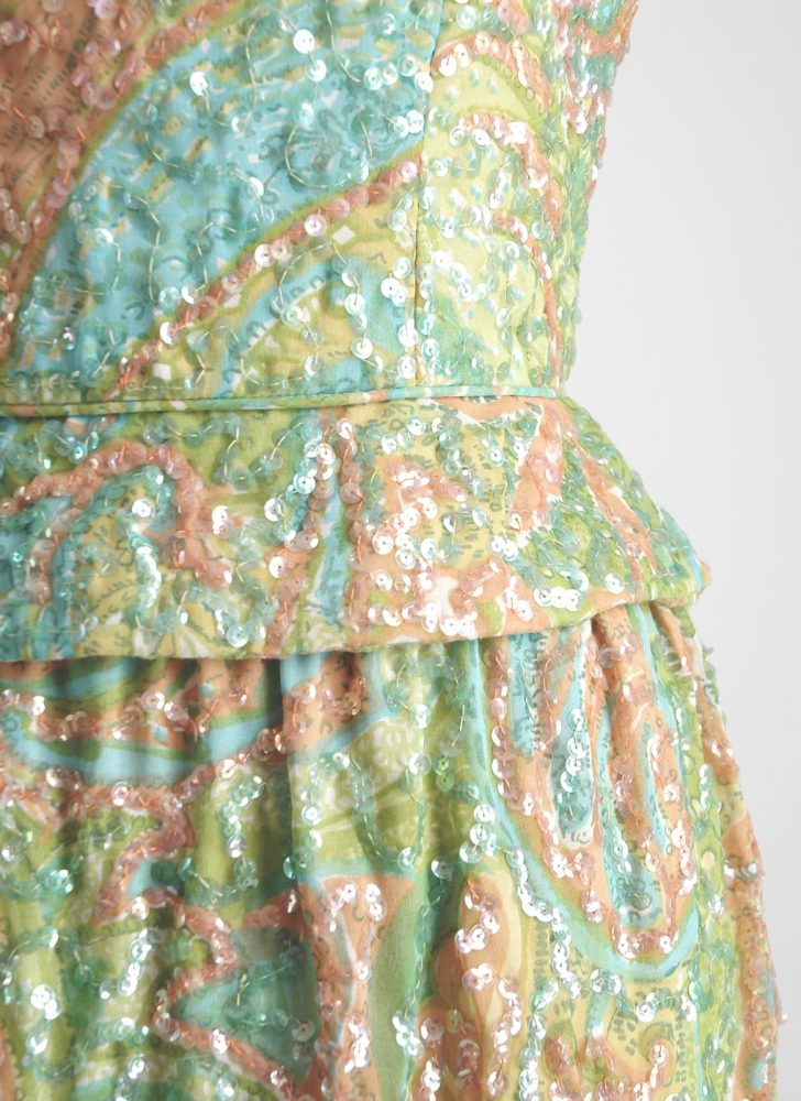 1950s 60s Pat Sandler pastel sheer cotton sequin cocktail dress