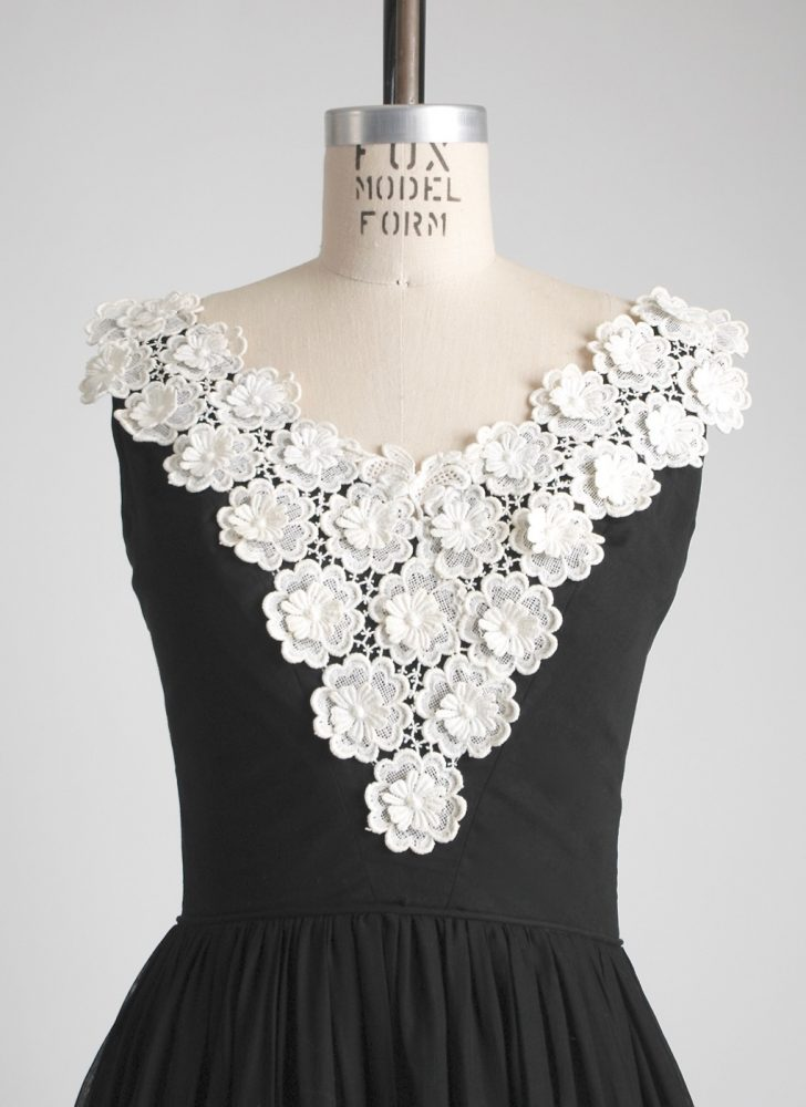 1950s sheer cotton + appliqued flower dress