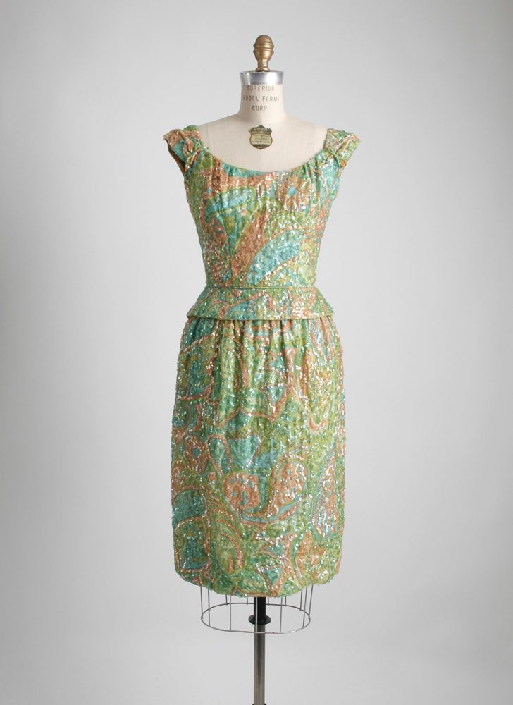 1950s 60s Pat Sandler sequin cocktail dress