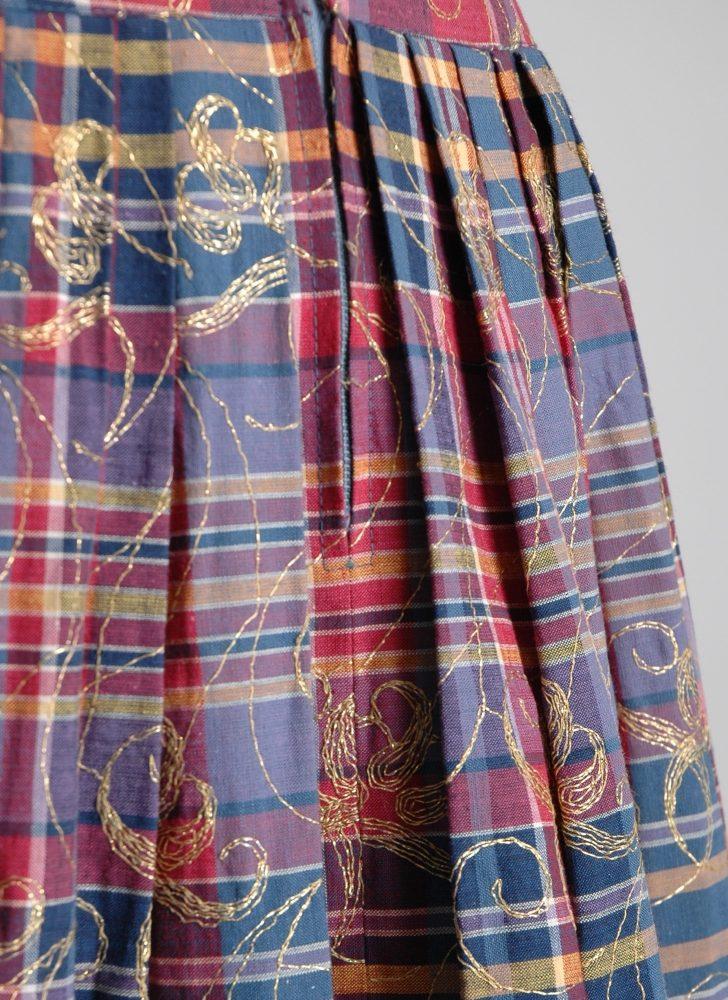 1950s Greta Plattry gold embroidered dress