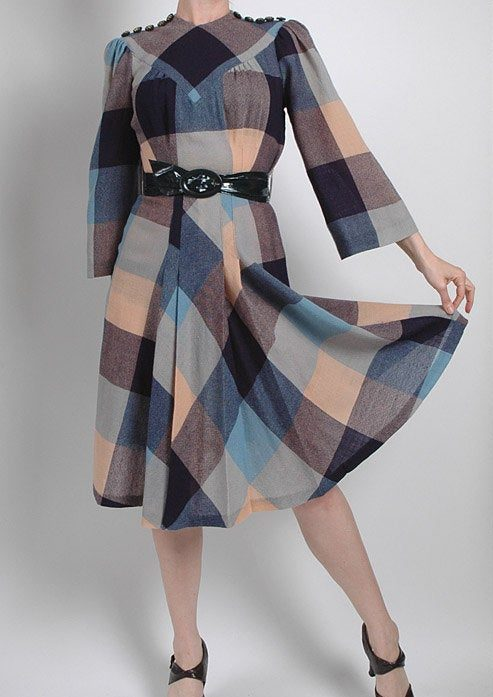 1940s plaid wool dress