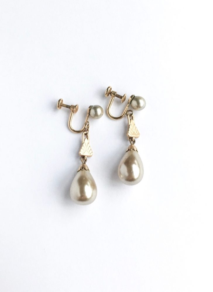 1930s 40s Heisey pearl drop earrings