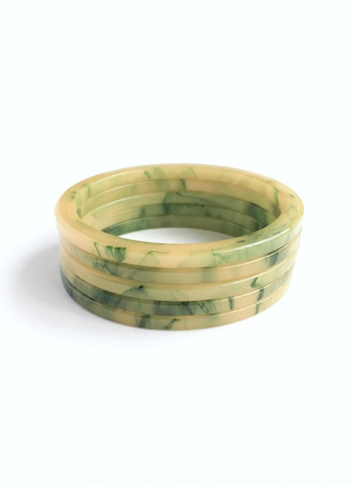 1930s yellow green marbled Bakelite bangles
