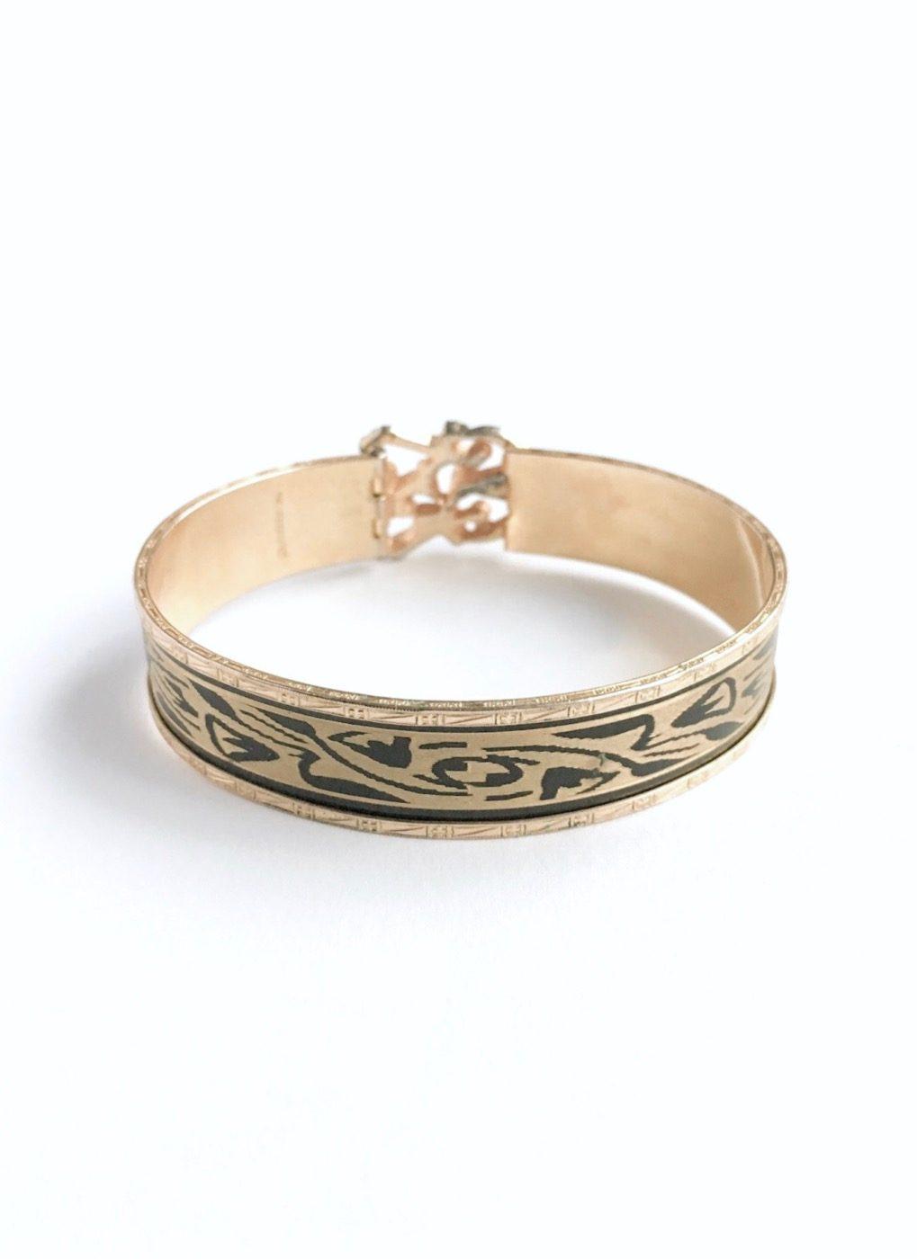 1930s JJ White damascene cuff bracelet