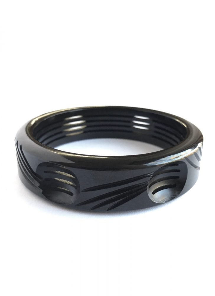1930s 40s black carved cutout Bakelite bracelet