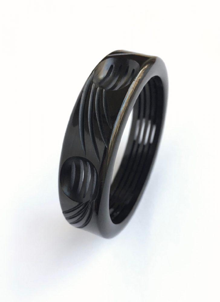 1930s 40s black carved cutout Bakelite bracelet
