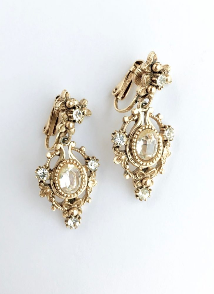 vintage Florenza antiqued dangle earrings