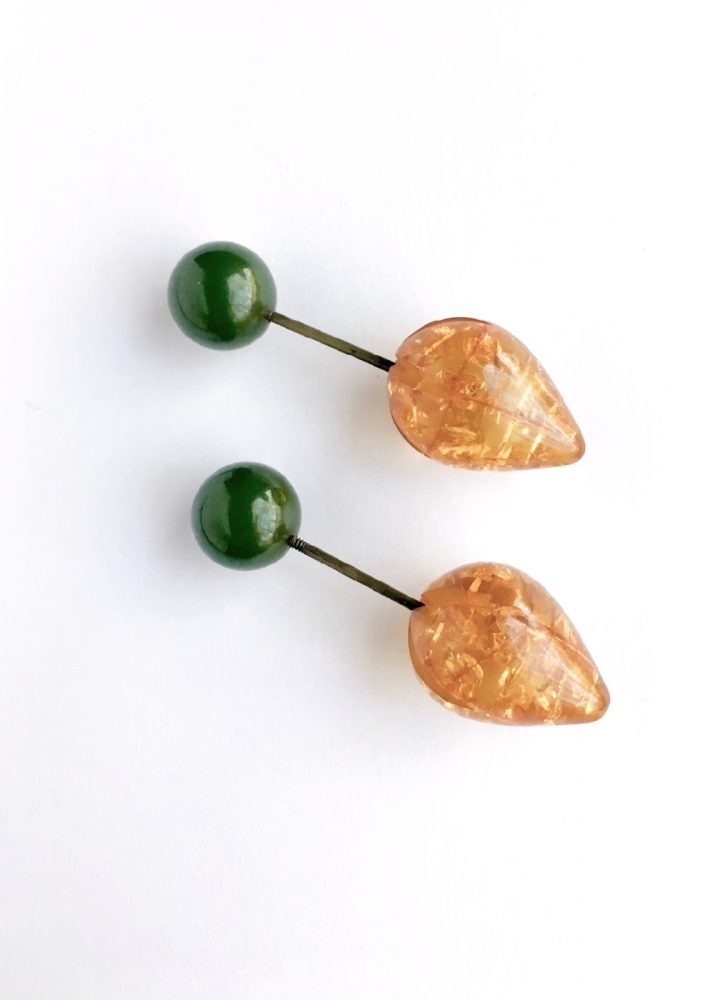 1930s amber and Bakelite coat pins