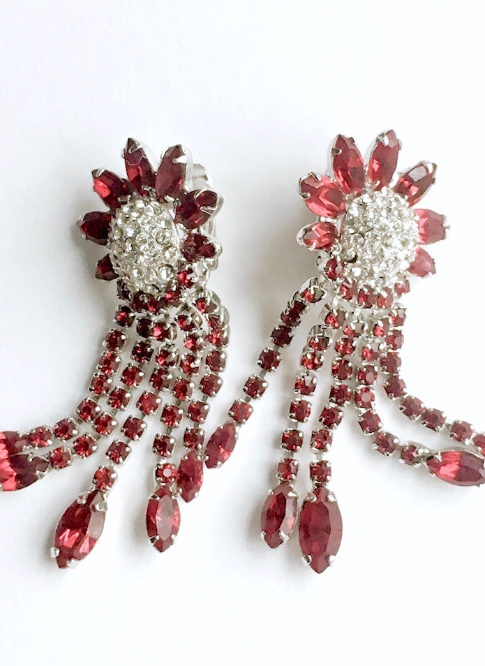 Weiss red rhinestone waterfall earrings
