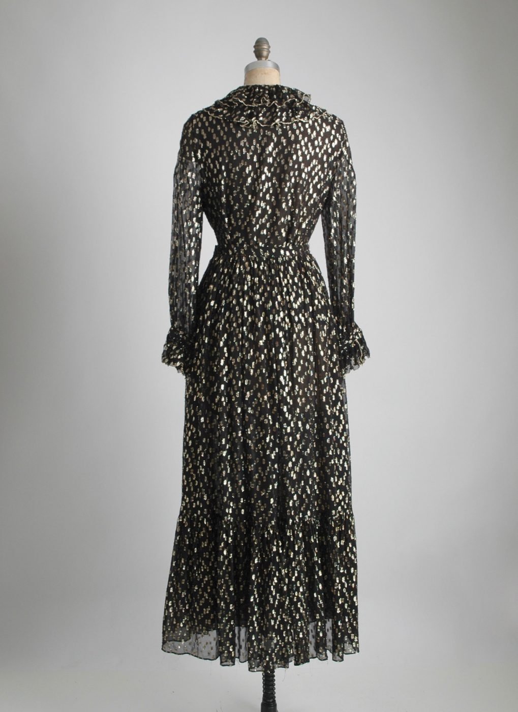 COMING SOON! 1970s sheer black + gold 2 piece dress