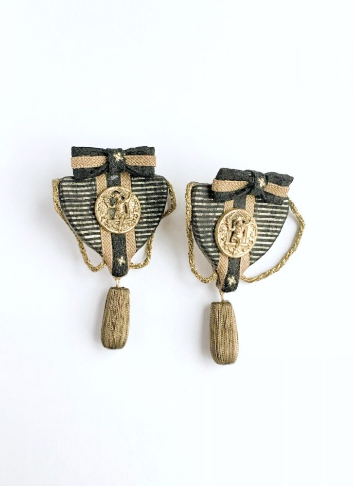 unique 1980s medal earrings