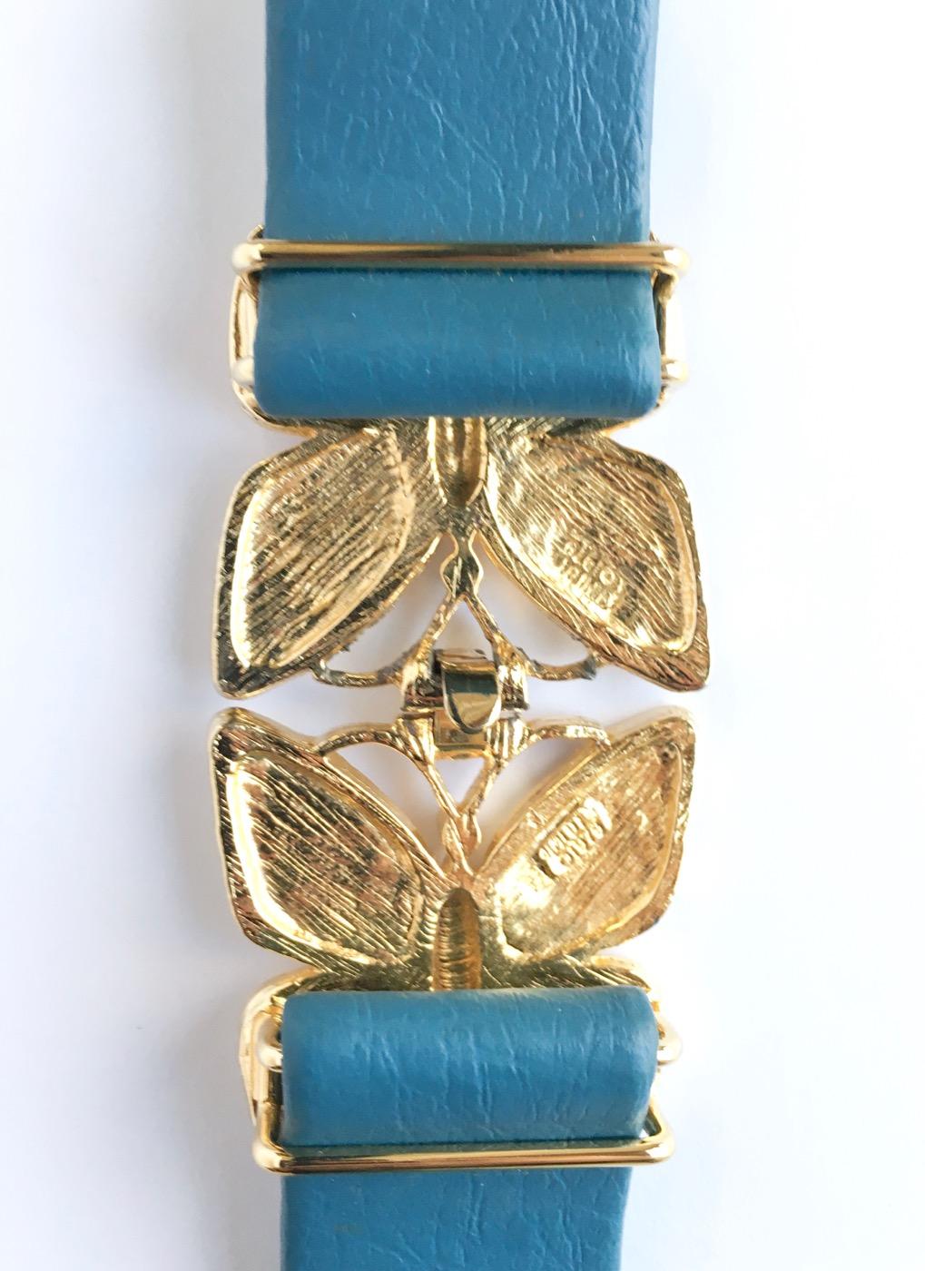 1970s Mimi di N gold butterfly buckle belt