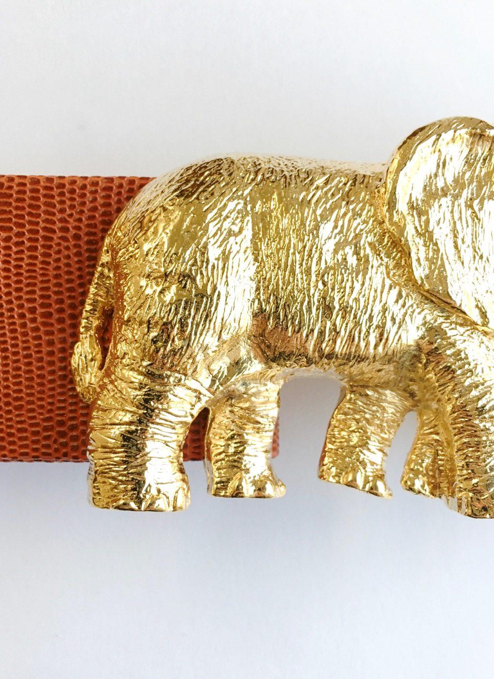 1980s Mimi di N gold elephant buckle belt