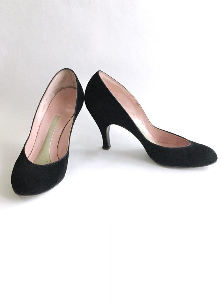 1950s Palter de Liso black suede heels