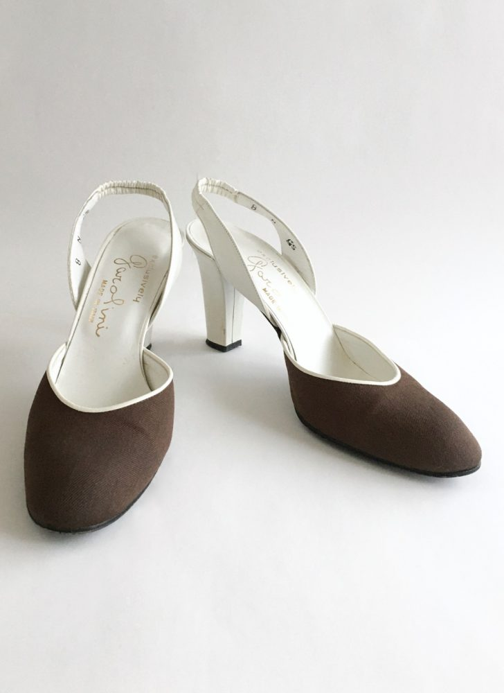 1960s Garolini brown + white heels