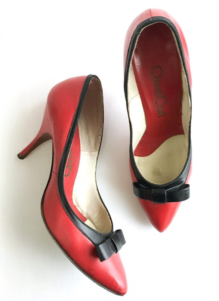 1950s 60s QualiCraft red + black bow heels
